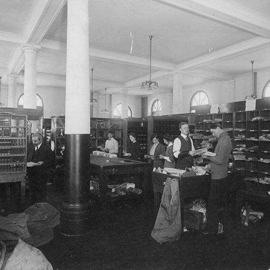 Strathcona Public Building, date unknown, interior view of sorting room