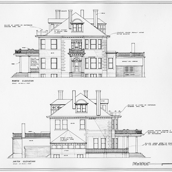 Secord House - North & South Elevation blue prints