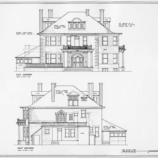 Secord House - East and West elevation blue prints